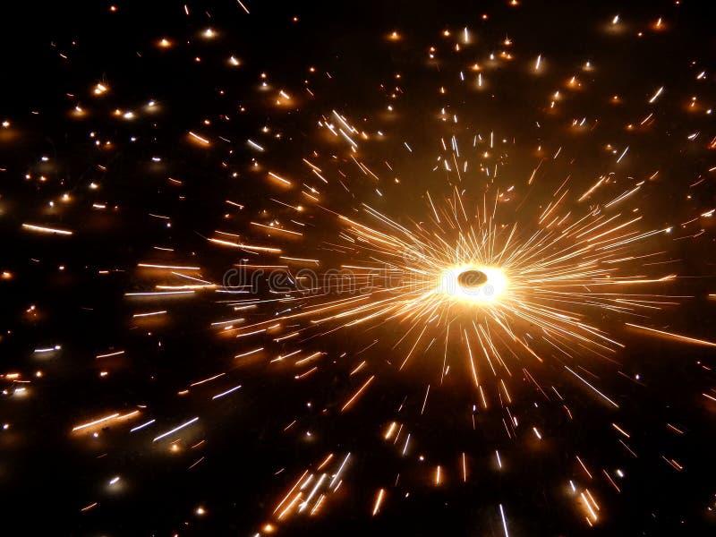 Fuoco d'artificio durante il festival indiano Diwali fotografie stock