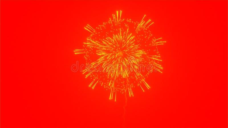 Fuoco d'artificio giallo del fiore su fondo rosso illustrazione di stock