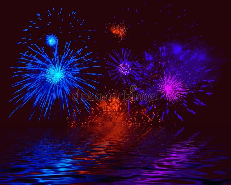 Fuoco d'artificio nebbioso. Illustrazione royalty illustrazione gratis