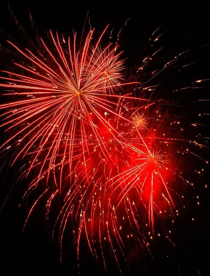 Fuoco d'artificio rosso fotografia stock