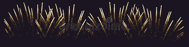 Fuoco d'artificio senza cuciture Fondo isolato del nero di vettore illustrazione di stock
