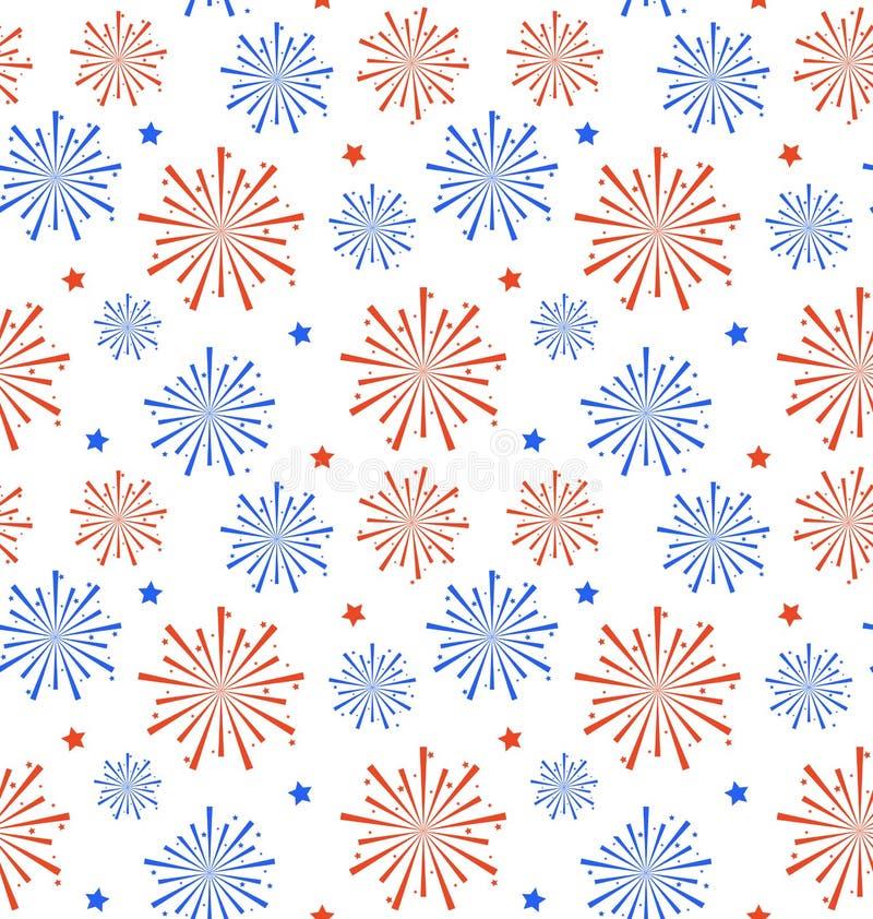 Fuoco d'artificio senza cuciture per la festa dell'indipendenza di U.S.A., carta da parati del modello illustrazione di stock