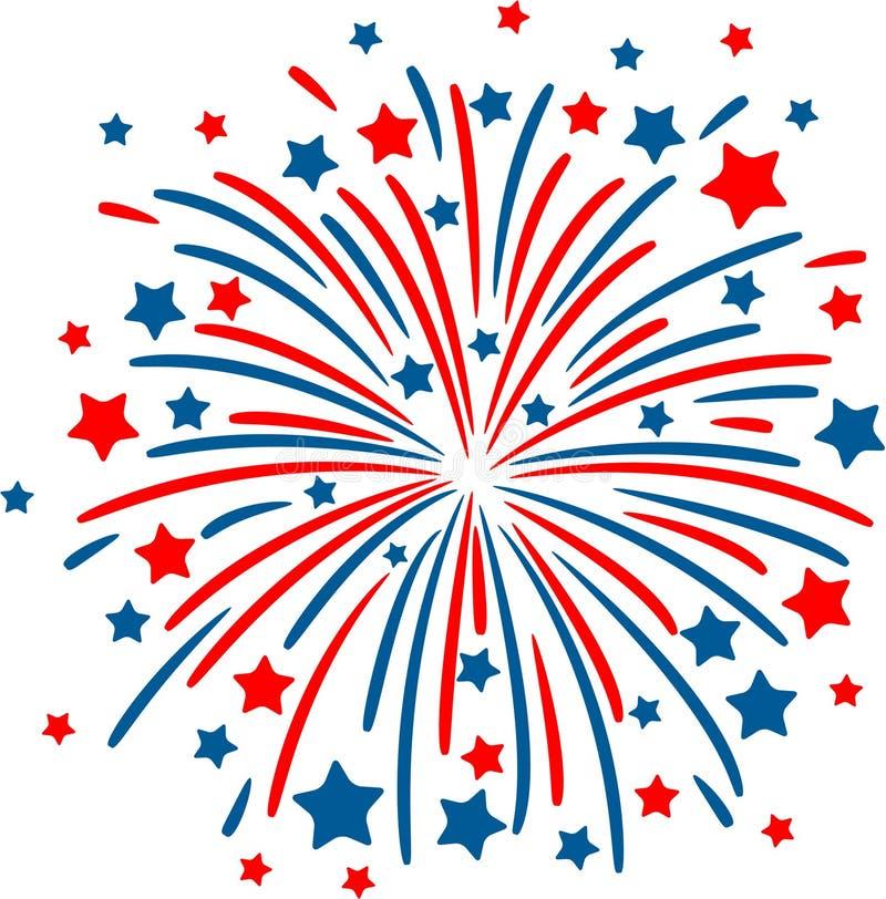 Fuoco d'artificio su bianco royalty illustrazione gratis