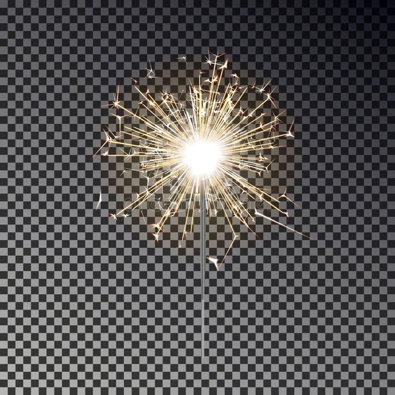 Fuoco del Bengala Candela della stella filante del nuovo anno isolata su fondo trasparente EFF realistico della luce di vettore immagine stock libera da diritti
