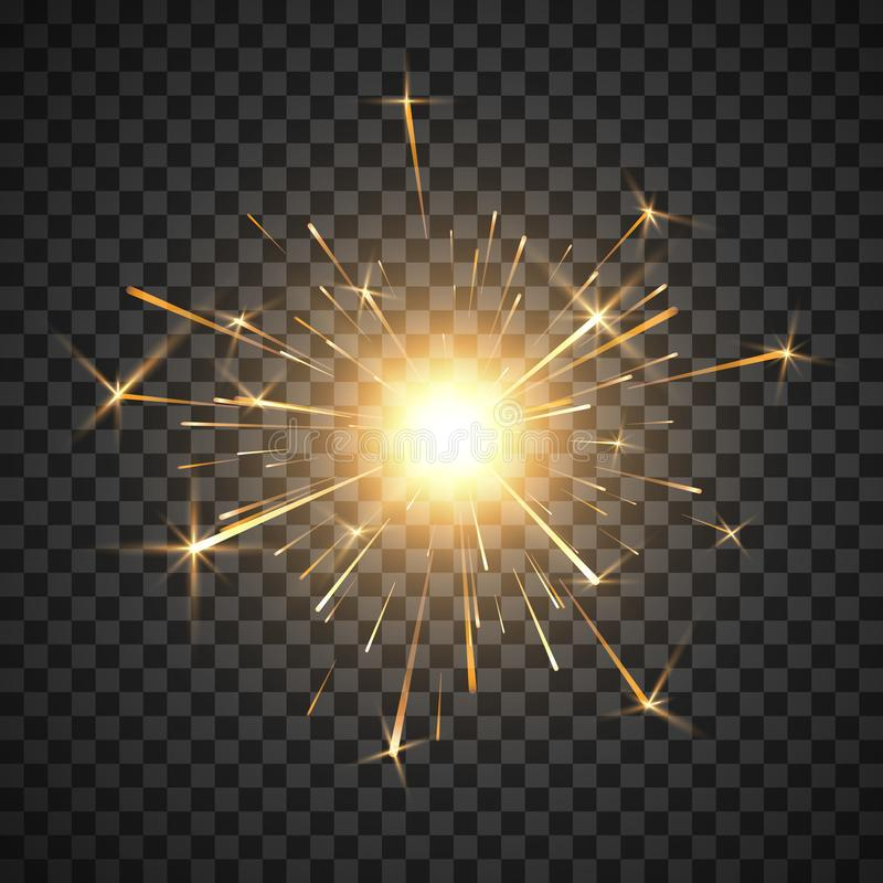 Fuoco del Bengala Fuoco d'artificio brillante bruciante della stella filante Effetto della luce realistico Elemento della decoraz illustrazione di stock