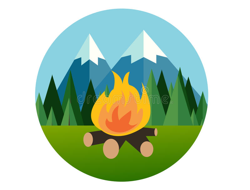 Fuoco del campo nel grafico di vettore piano della giungla del pino dell'icona della montagna della foresta illustrazione di stock