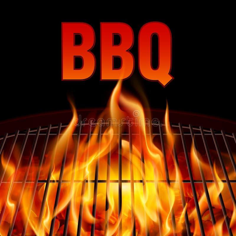 Fuoco della griglia del BBQ illustrazione di stock