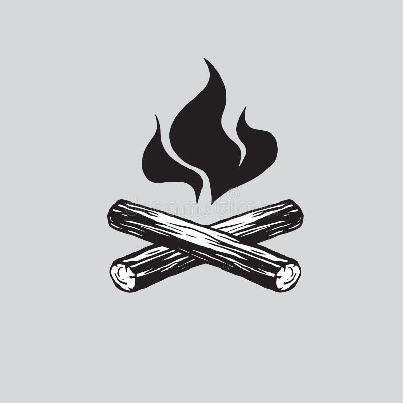 Fuoco di accampamento con l'icona dell'illustrazione di vettore della legna da ardere illustrazione di stock