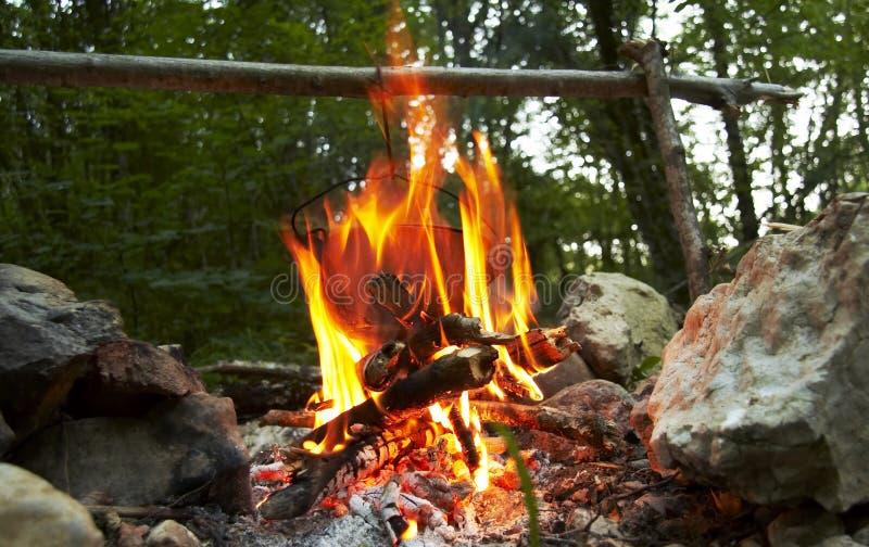 Fuoco di campeggio fotografie stock libere da diritti
