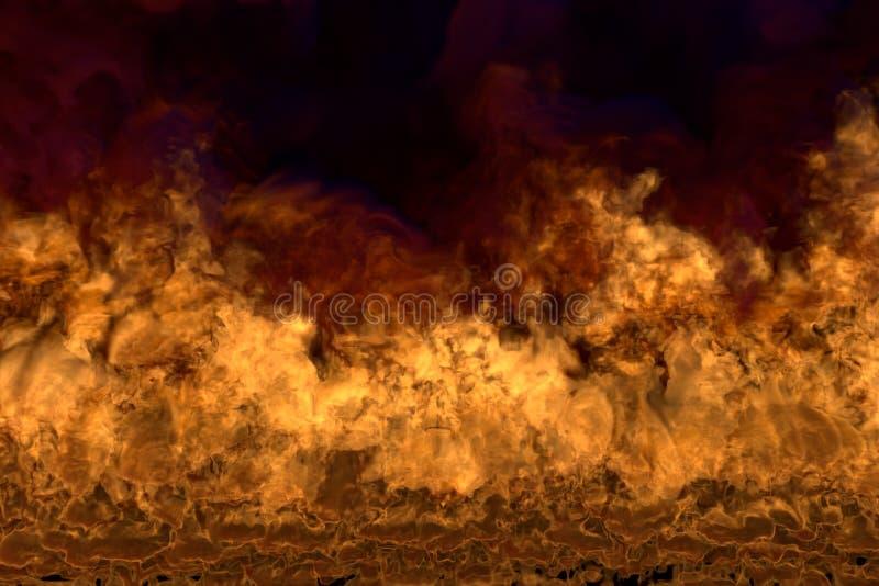 Fuoco di fusione su fondo nero, struttura fiammeggiare con fumo denso - fuoco dagli angoli dell'immagine - illustrazione del fuoc illustrazione vettoriale
