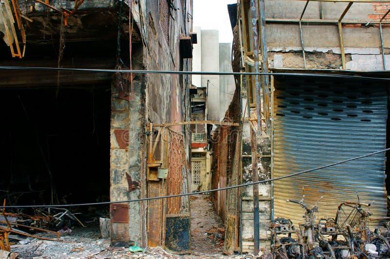 Fuoco di orrore, città di Ho Chi Minh della residenza fotografia stock libera da diritti