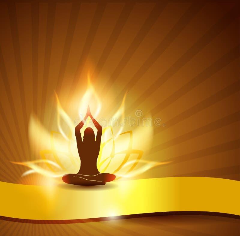 Fuoco e yoga del fiore di loto illustrazione vettoriale