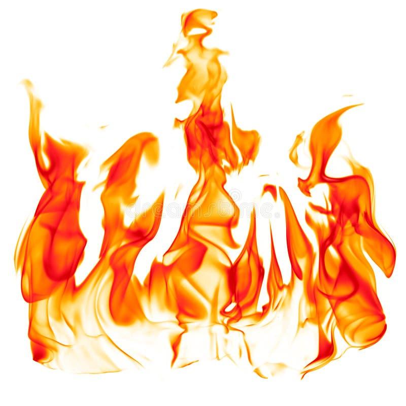 Fuoco - fiamma calda rosso-arancio bruciante su una superficie orizzontale fotografie stock