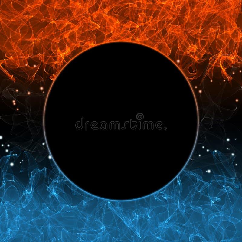 Fuoco freddo astratto, fiamma calda illustrazione di stock