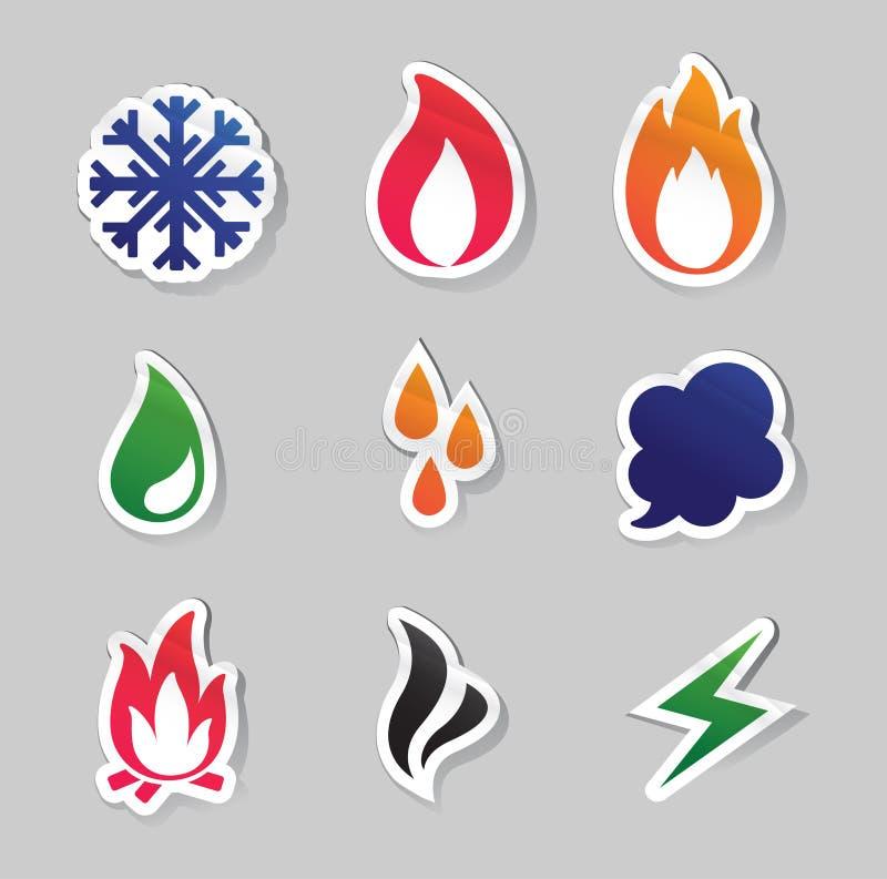 Fuoco, gelata, vapore, icone dell'acqua illustrazione di stock