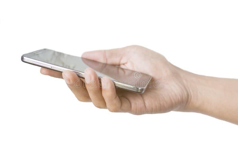 Fuoco molle della mano dello Smart Phone asiatico di uso dell'uomo con fondo bianco fotografia stock