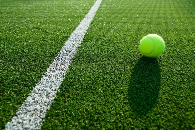 Fuoco molle di pallina da tennis sul campo da tennis sull'erba di tennis buon per il backgro immagini stock libere da diritti