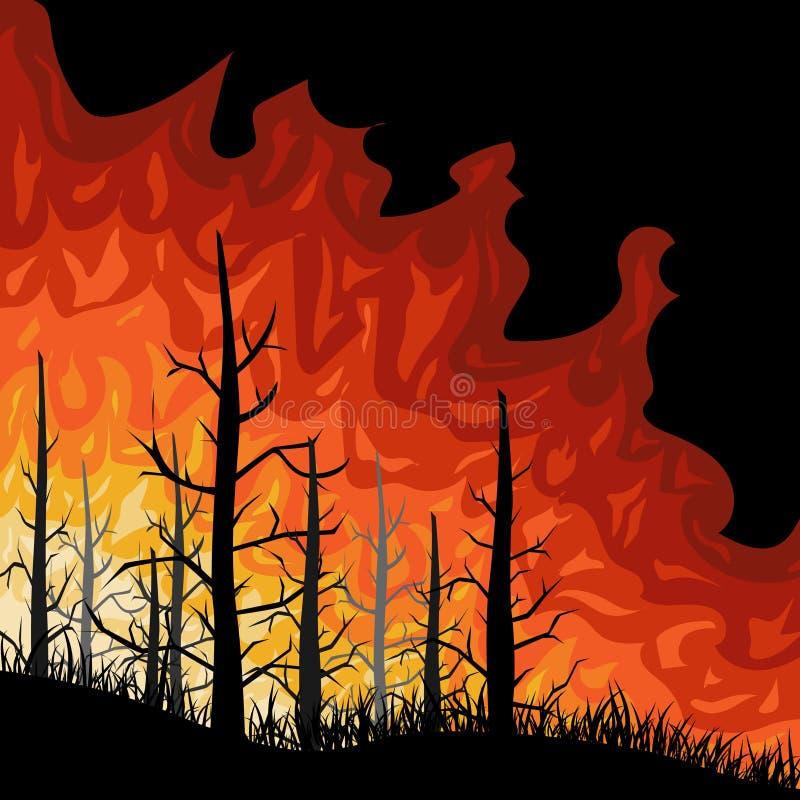 Fuoco nella progettazione della foresta Illustrazione piana illustrazione di stock