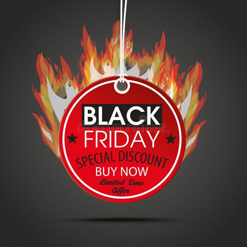 Fuoco rotondo di buio di Black Friday dell'autoadesivo di prezzi illustrazione di stock