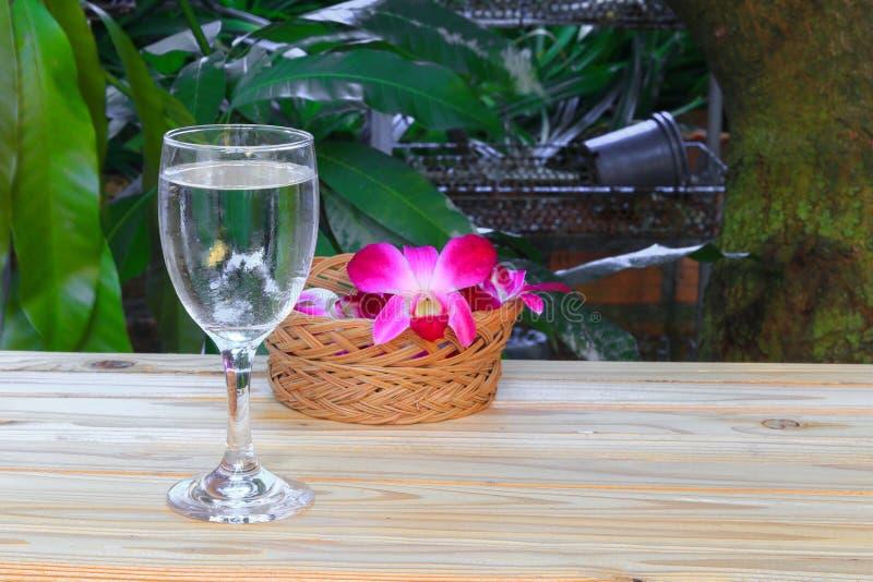 Fuoco scelto fresco del tubo di livello con profondità di campo bassa con l'orchidea e porpora sul concetto di legno della stazio fotografie stock libere da diritti