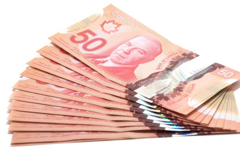 Fuoco selettivo di una serie di 50 dollari canadesi immagine stock libera da diritti