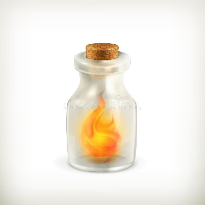 Fuoco in una bottiglia, icona illustrazione vettoriale