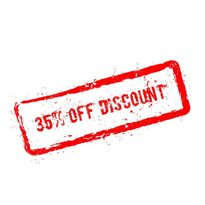 35% fuori dal timbro di gomma rosso di sconto isolato sopra illustrazione di stock