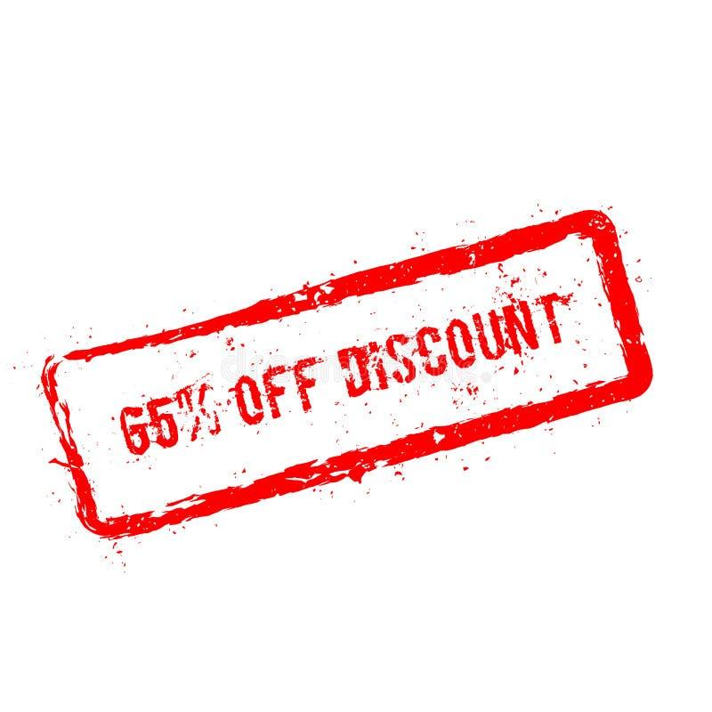 65% fuori dal timbro di gomma rosso di sconto isolato sopra royalty illustrazione gratis