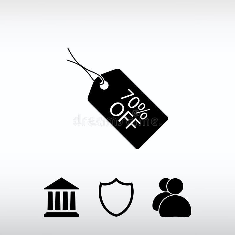 70% FUORI dall'icona dell'etichetta, illustrazione di vettore Stile piano di progettazione immagini stock