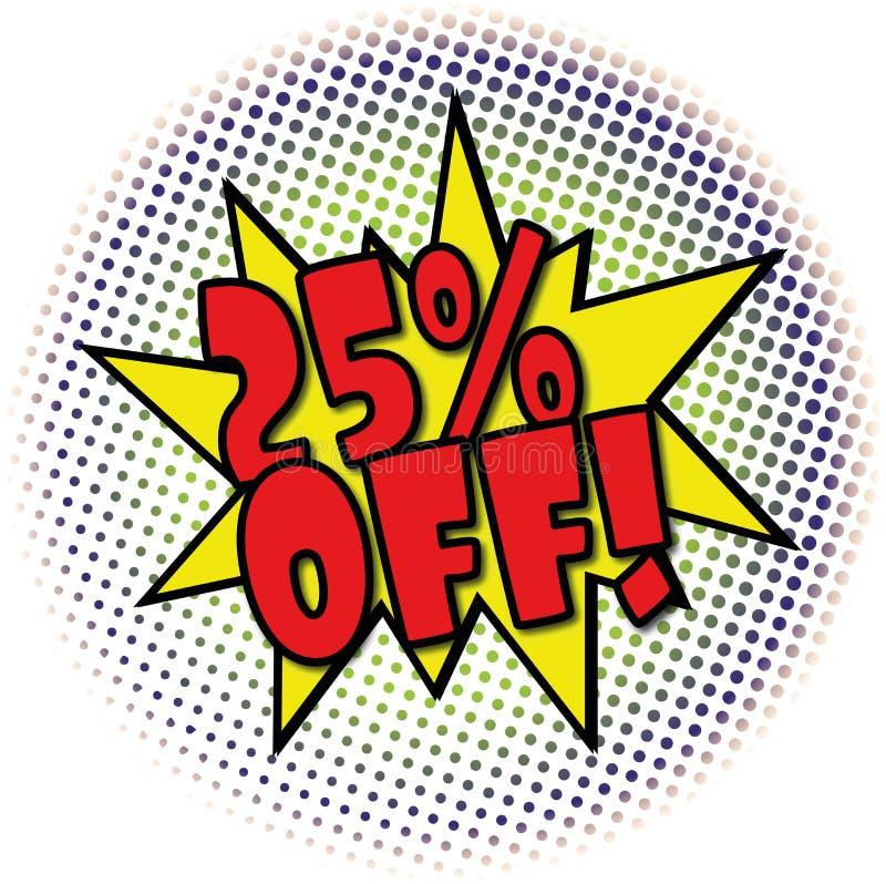 Download 25% FUORI Dalla Retro Etichetta Di Affare Di Progettazione Di Esplosione Comica Illustrazione di Stock - Illustrazione di background, disegno: 117978437