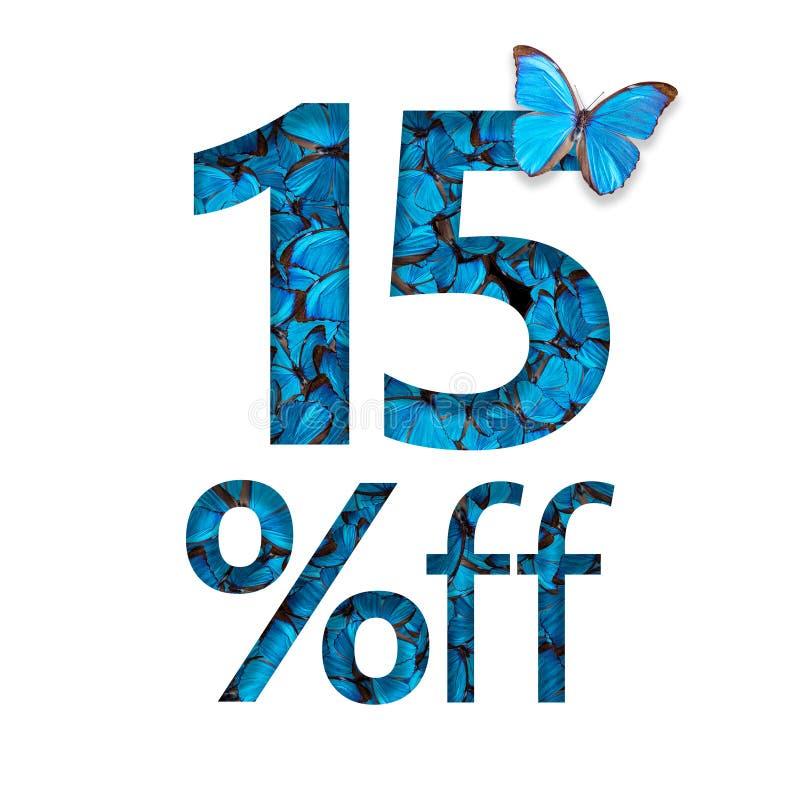 15% fuori dallo sconto Il concetto della molla o della vendita del sammer, manifesto alla moda, insegna, promozione, annunci illustrazione vettoriale