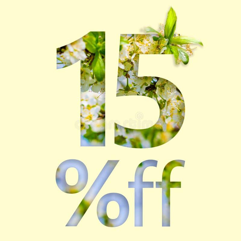 15% fuori dallo sconto Il concetto della vendita della molla, manifesto alla moda, insegna, promozione, annunci illustrazione di stock