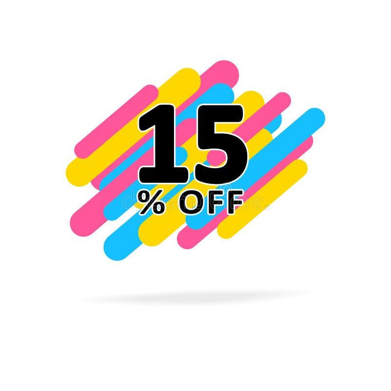 15% fuori dallo sconto Illustrazione astratta di vendita di vettore con le bande blu e gialle di rosa, illustrazione di stock