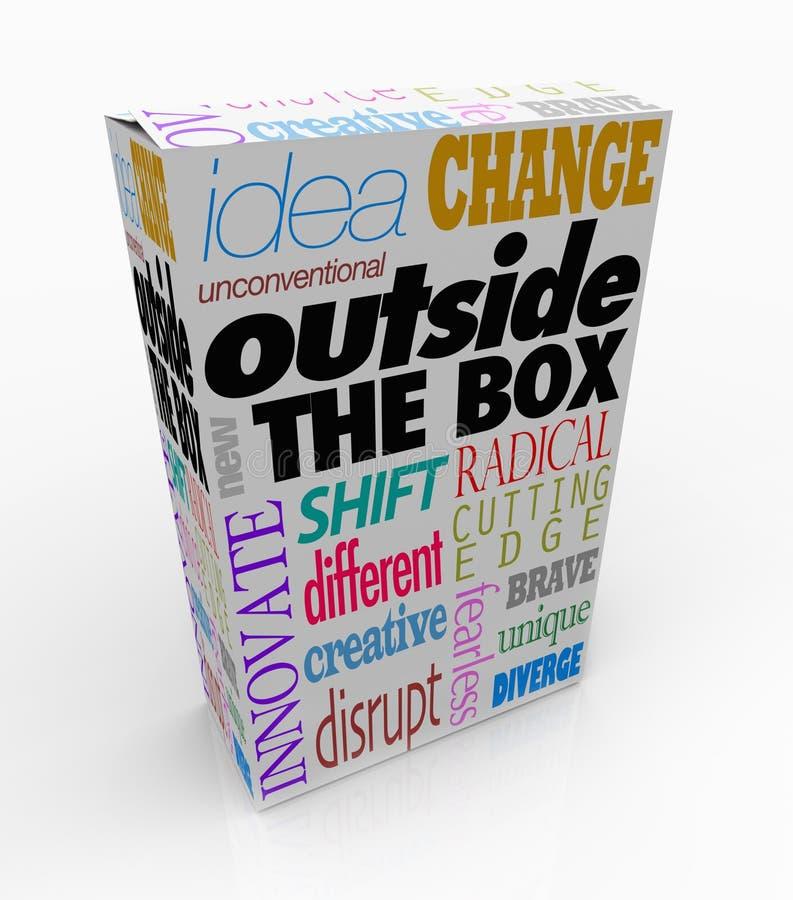 Fuori delle parole della scatola sull'innovazione del pacchetto del prodotto illustrazione di stock