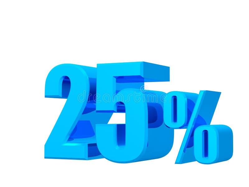 25% fuori, sconto, promozione delle vendite, rappresentazione dell'insegna 3D di offerta sul fondo bianco illustrazione vettoriale