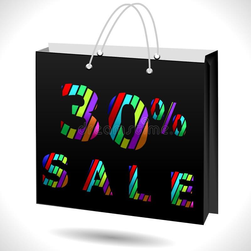 30% fuori, uno sconto di 30 vendite, 30 fuori da testo con il sacchetto della spesa royalty illustrazione gratis
