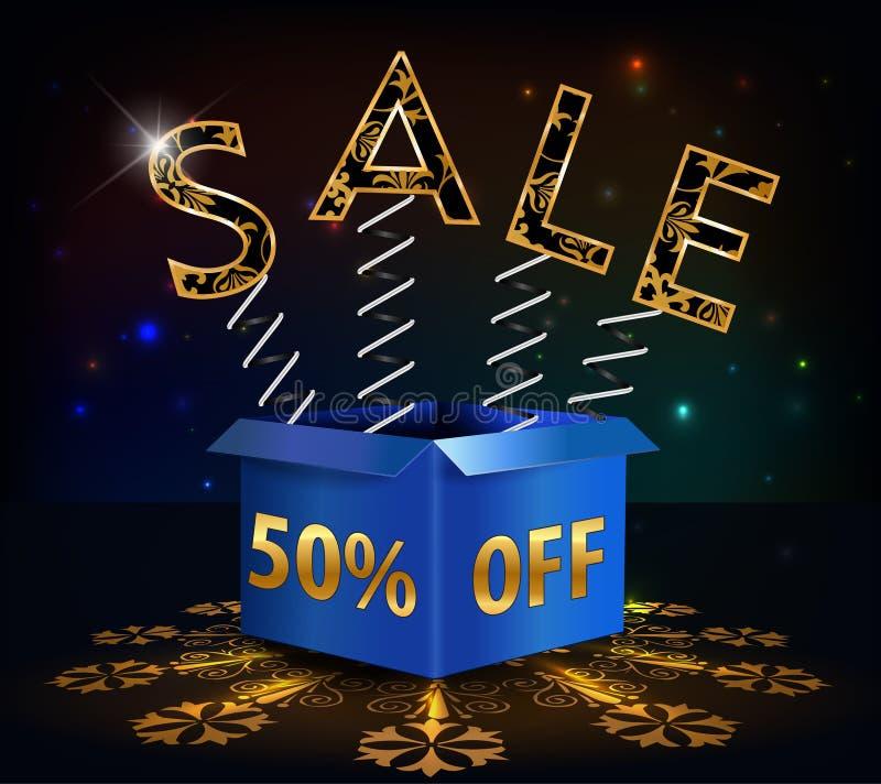 50% fuori, vendita calda di sconto di 50 vendite con la molla di offerta speciale e scatola illustrazione vettoriale