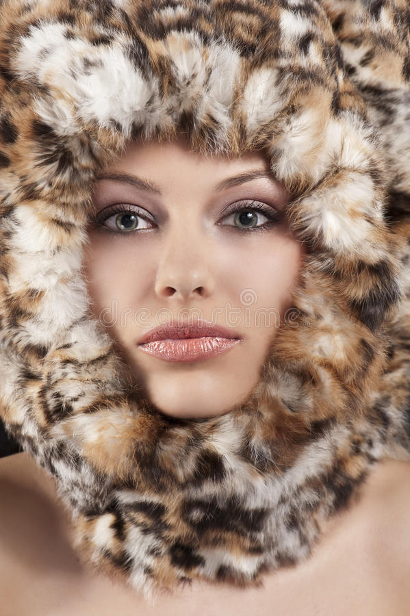 Download Fur around the face stock photo. Image of glamour, makeup - 21115050