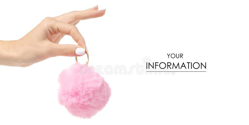 Fur ball pink in hand pattern. On white background isolation royalty free stock photos