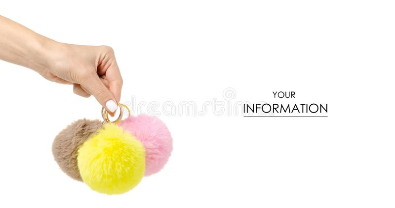 Fur balls yellow pink brown in hand pattern. On white background isolation stock photography