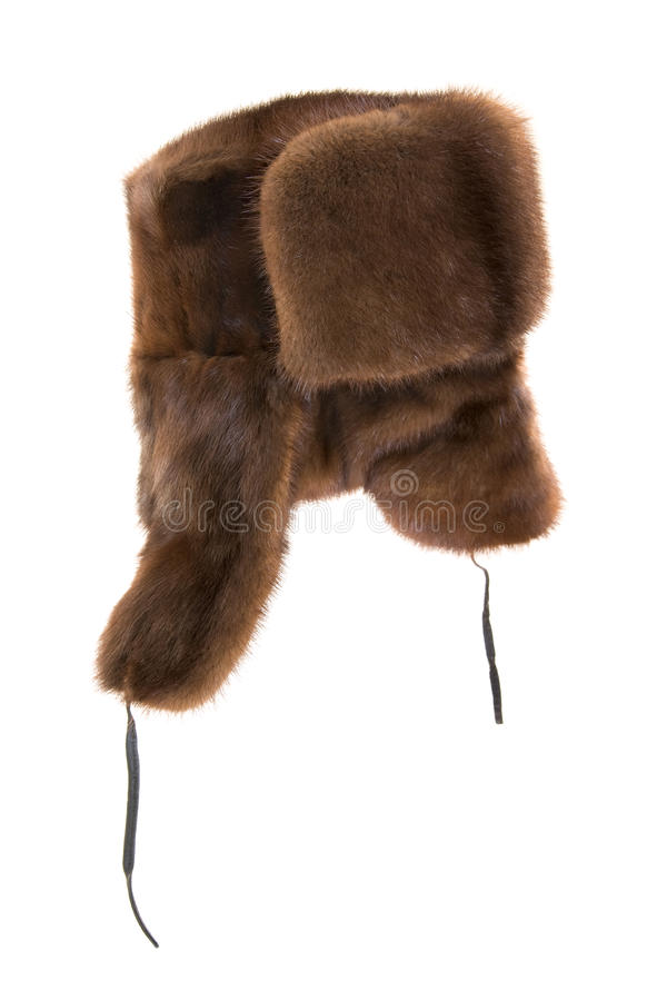 Fur cap. Winter fur cap on a white background stock photo