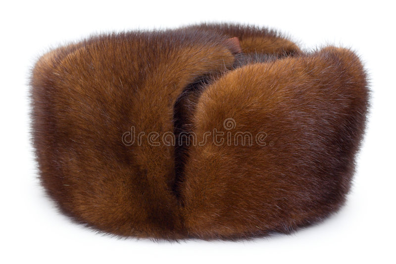 Fur cap. From a mink on a white isolated background royalty free stock photography