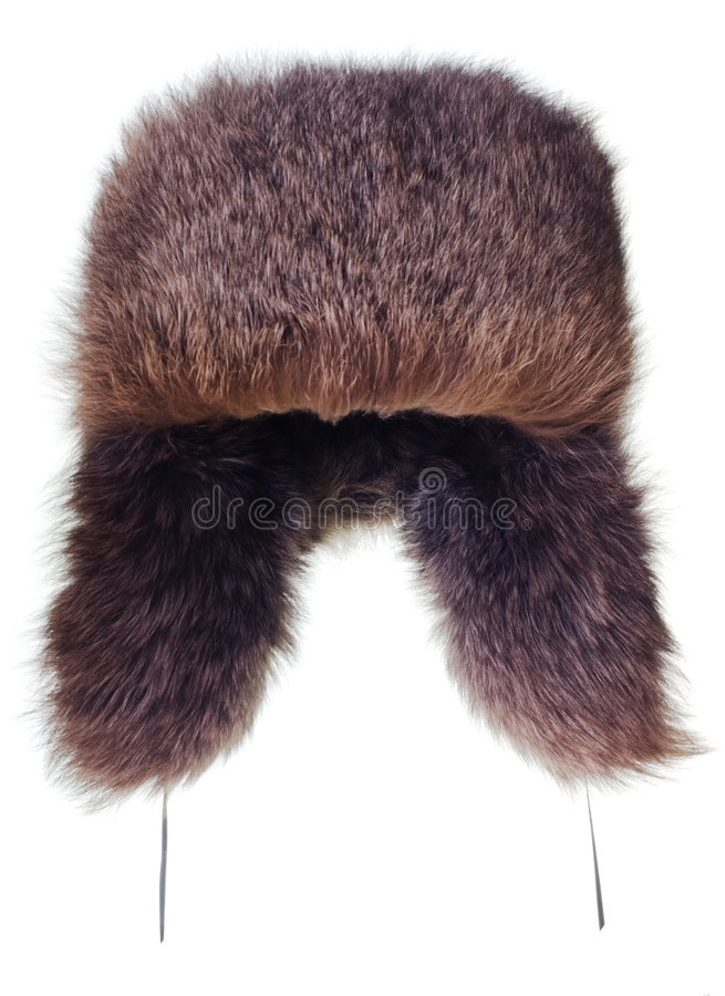 Fur-cap. Isolated over white background stock photography