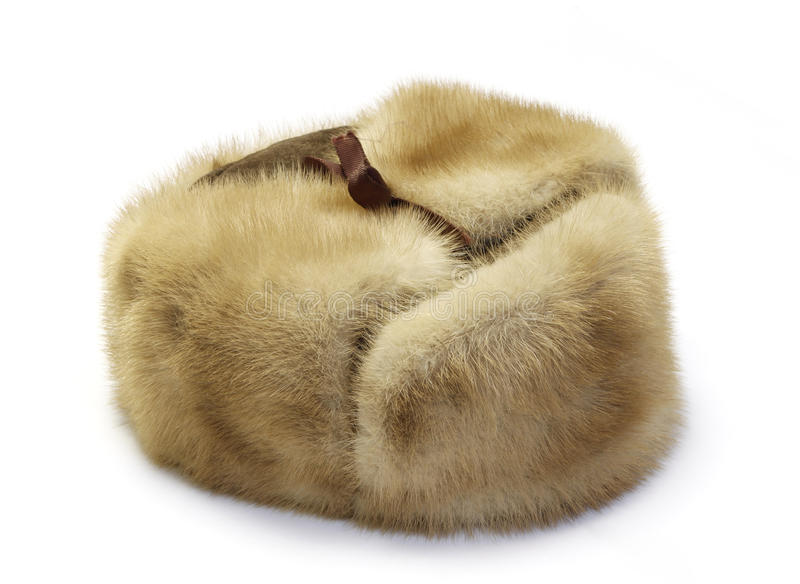 Fur cap winter. Isolated on white royalty free stock photo