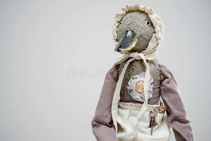 Fur clay bird duck maid vintage victorian doll royalty free stock images
