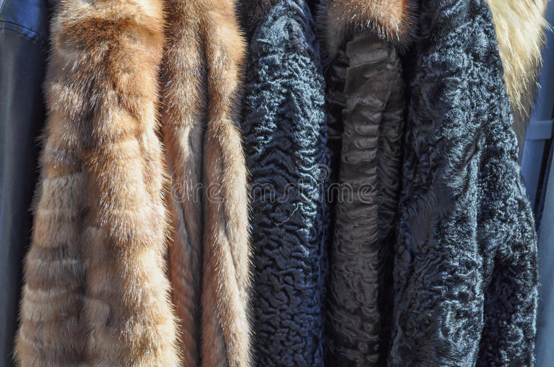 Fur coats detail royalty free stock photography