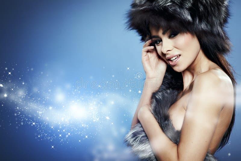 Fur Fashion. Beautiful Girl In Fur Hat. Stock Photography