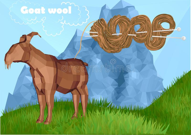 Fur Goat with knitting. Fur Goat and knitting with a needle royalty free illustration