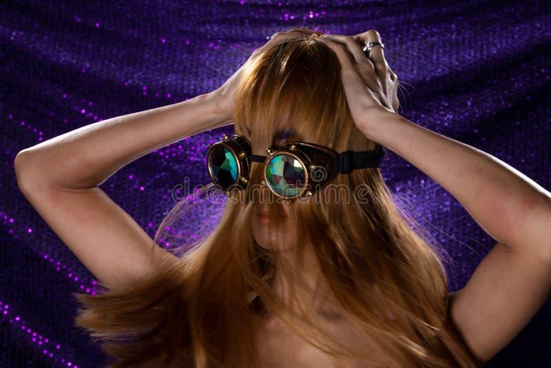 Fashion Model Woman wear Kaleidoscope Glasses stock photography