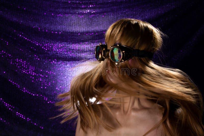 Fashion Model Woman wear Kaleidoscope Glasses royalty free stock images